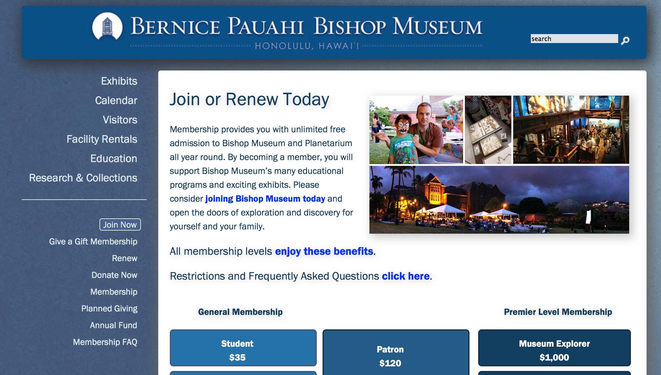 Bishop Museum Annual Membership