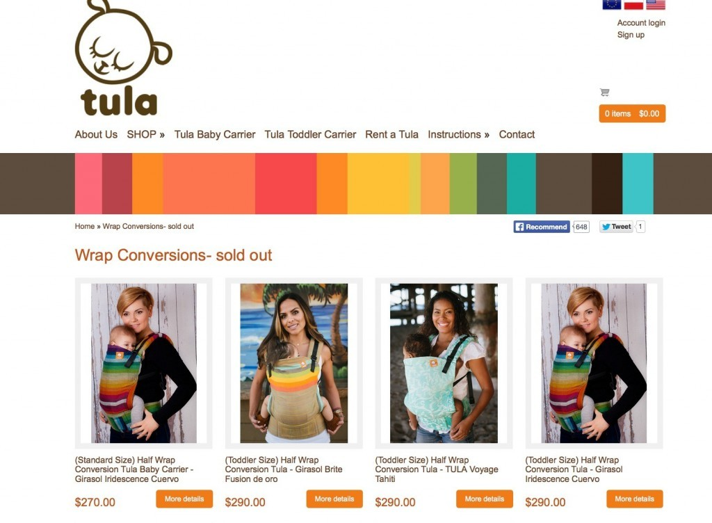 Tula Wrap Conversions Sold Out Screenshot