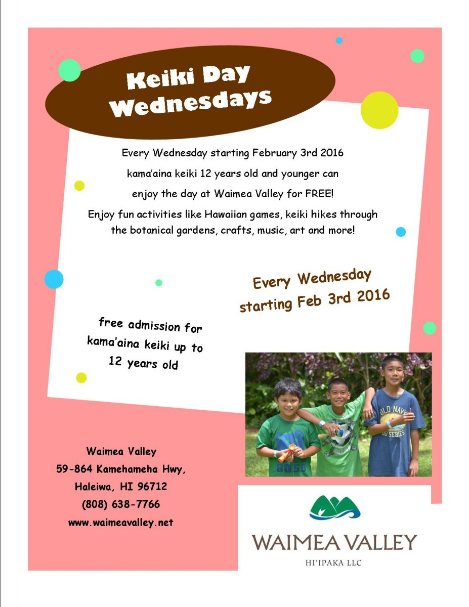 Keiki Day Wednesday flier