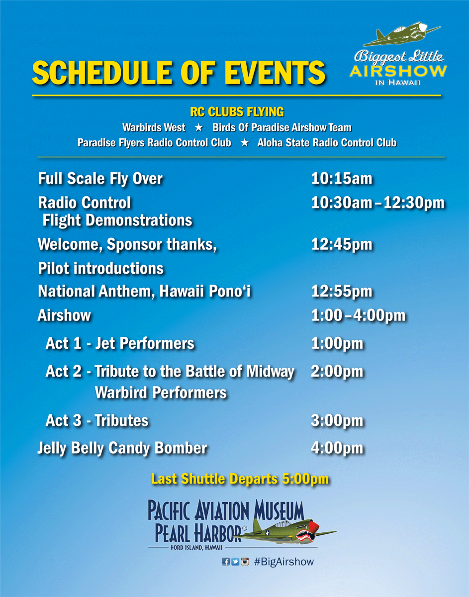 Schedule of Events for Biggest Little Airshow in Hawaii 2016